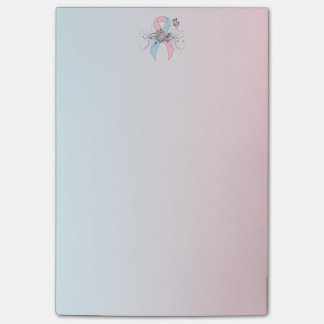 Pink and Light Blue Ribbon with Butterfly Post-it® Notes