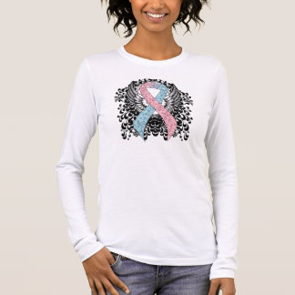 Pink and Light Blue Ribbon with Wings Long Sleeve T-Shirt