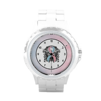 Pink and Light Blue Ribbon with Wings Watches