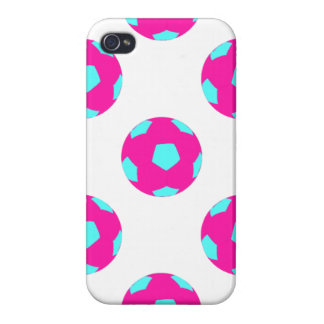 Pink and Light Blue Soccer Ball Pattern iPhone 4 Cover