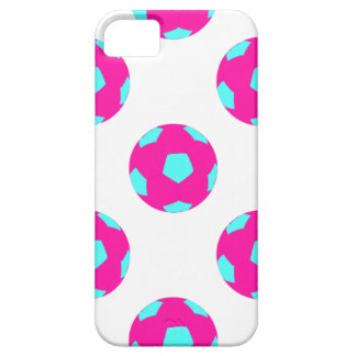 Pink and Light Blue Soccer Ball Pattern iPhone SE/5/5s Case