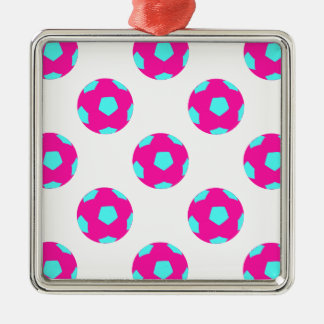 Pink and Light Blue Soccer Ball Pattern Square Metal Christmas Ornament
