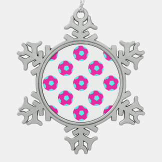 Pink and Light Blue Soccer Ball Pattern Snowflake Pewter Christmas Ornament