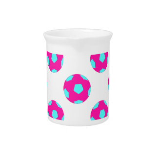 Pink and Light Blue Soccer Ball Pattern Drink Pitchers