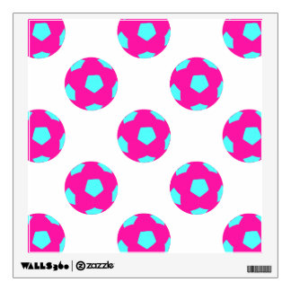 Pink and Light Blue Soccer Ball Pattern Room Graphic