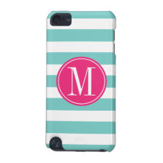 Pink And Light Blue Stripes Custom Monogram Ipod Touch 5g Cover at Zazzle