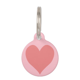 Pink and Light Coral Heart Pet Nametag