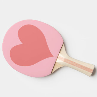 Pink and Light Coral Heart Ping Pong Paddle