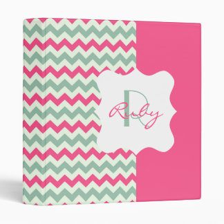 Pink and Light Teal Chevron Personalized Monogram 3 Ring Binder