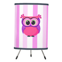 Pink and lilac cartoon owl tripod lamp