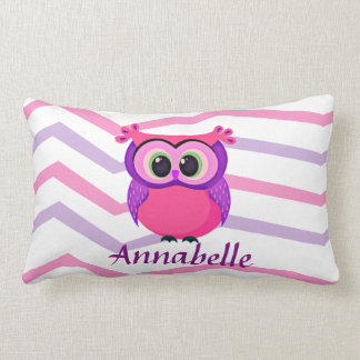 pink and lilac cute owl on a chevron background lumbar pillow