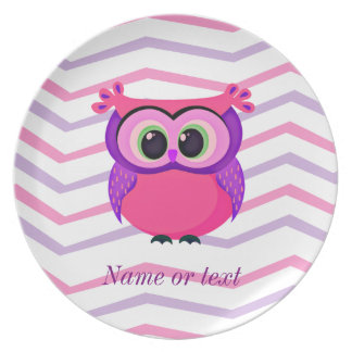 pink and lilac cute owl on a chevron background melamine plate