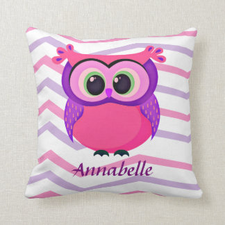 pink and lilac cute owl on a chevron background throw pillow