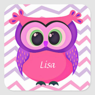 Pink and lilac cute owl square sticker