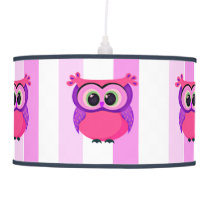 Pink and lilac owl illustration hanging lamp