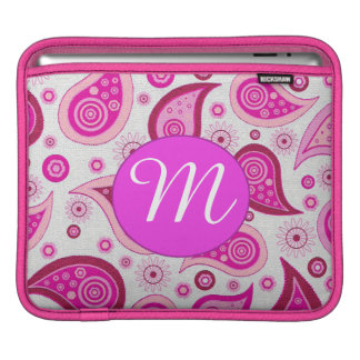 Pink and lilac paisley pattern iPad sleeve