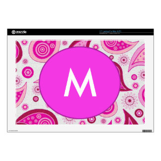 Pink and lilac paisley pattern laptop decal