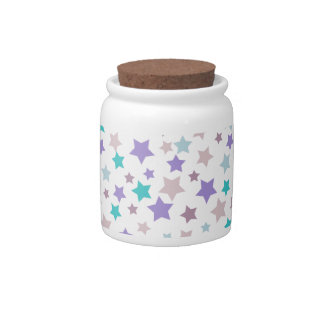 Pink and Lilac stars pattern on white Candy Dishes