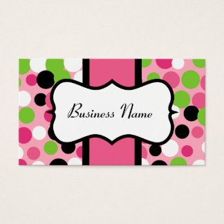 Pink and Lime Bouncing Dots Business Cards