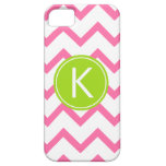 Pink and Lime Chevron Stripes Monogram Case iPhone 5 Case