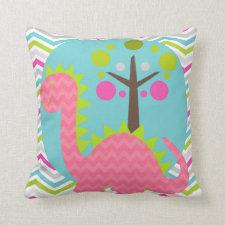 Pink and Lime Dragon Throw Pillow