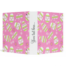 Pink and lime easter eggs and flowers binder