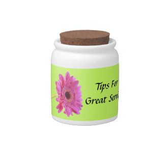 Pink and Lime Gerbera Daisy Tip Jar Candy Dishes