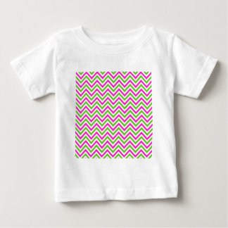Pink and Lime Green Chevron Pattern Baby T-Shirt