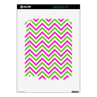 Pink and Lime Green Chevron Pattern Decal For iPad 2