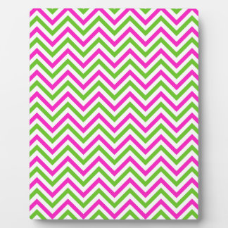 Pink and Lime Green Chevron Pattern Plaque