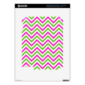 Pink and Lime Green Chevron Pattern Skin For iPad 3