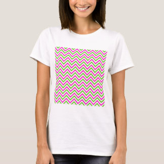 Pink and Lime Green Chevron Pattern T-Shirt