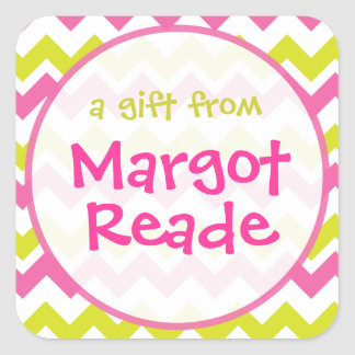 Pink and Lime Green Chevron Personalized Stickers
