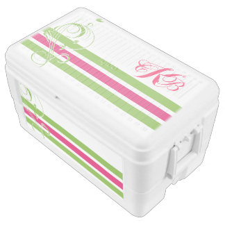 Pink and Lime Green Floral Bar Chest Cooler