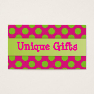 Pink and Lime Green Polka Dots Business Card