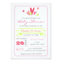 Pink and Lime Hearts Pink Girls baby shower invite