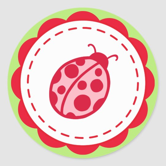 Pink and Lime Ladybug Stickers