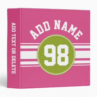 Pink and Lime Sports Jersey Custom Name Number Binder