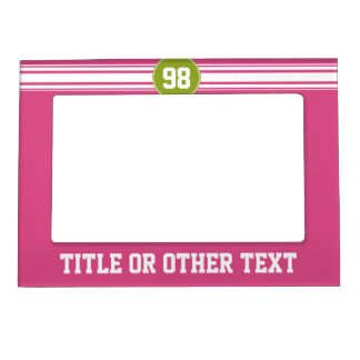 Pink and Lime Sports Jersey Custom Name Number Picture Frame Magnet