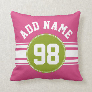 Pink and Lime Sports Jersey Custom Name Number Pillows