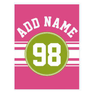 Pink and Lime Sports Jersey Custom Name Number Postcard