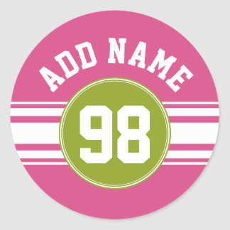 Pink and Lime Sports Jersey Custom Name Number Classic Round Sticker