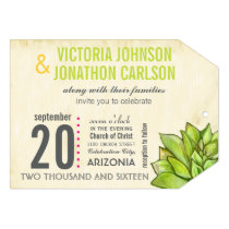 Pink and Lime Succulent Modern Typography Wedding Invitation