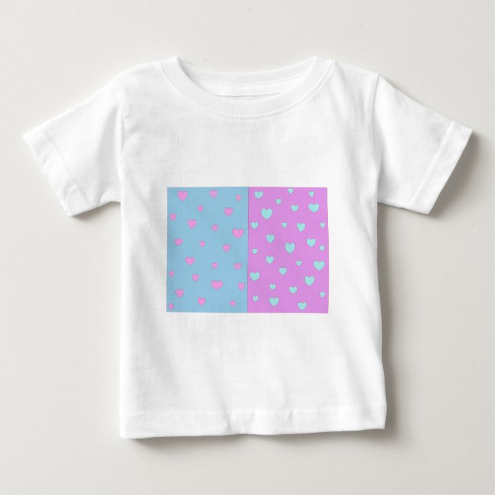 Pink and Lite Blue with Hearts Baby T-Shirt
