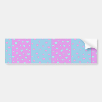 Pink and Lite Blue with Hearts Bumper Sticker