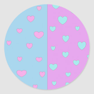 Pink and Lite Blue with Hearts Classic Round Sticker