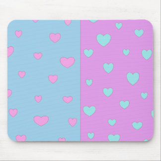 Pink and Lite Blue with Hearts Mouse Pad