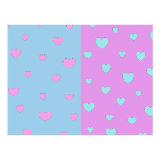 Pink and Lite Blue with Hearts Postcard