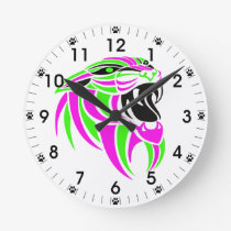 Pink and Lt Green Tiger Head Round Clock
