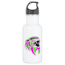 Pink and Lt Green Tiger Head Stainless Steel Water Bottle